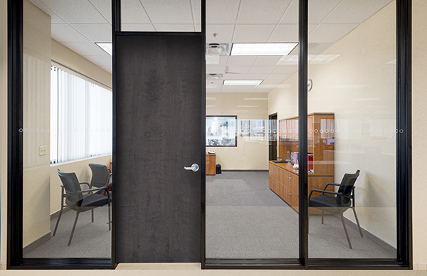 The Series 487 AR Office Partition Incorporates Wood Doors For Added  Acoustical Performance. Aluminum Framed Doors Are Also Available.