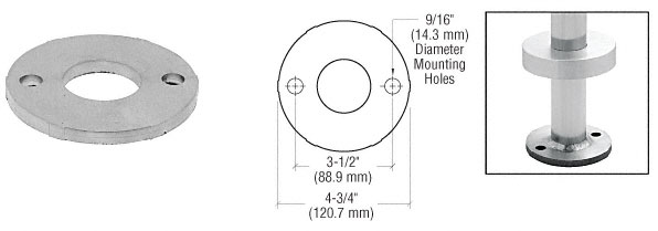 Polished Stainless Base Flange Cover for P6 and P7 P-Series Posts